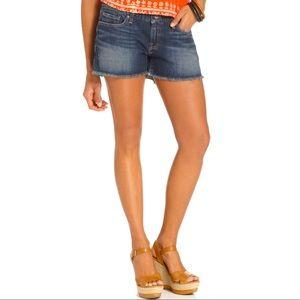 Lucky Brand 27 Dark Wash Riley Frayed Jean Shorts